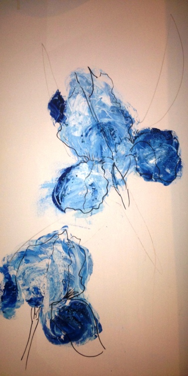 Irises by St Anne's Church, Bronx, NY, Late Spring 2014, Acrylic & Pen & Gesso.