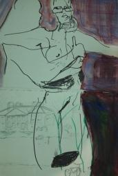 Ava Lauren, Oil & Marker on Paper, 2017