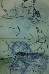 Ava Lauren, Pastel & Marker on Paper, 2017