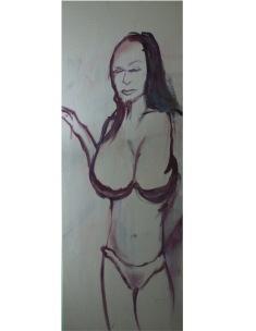 Ava Lauren prepares in Customer Satisfaction, Oil on Canvas, 2017